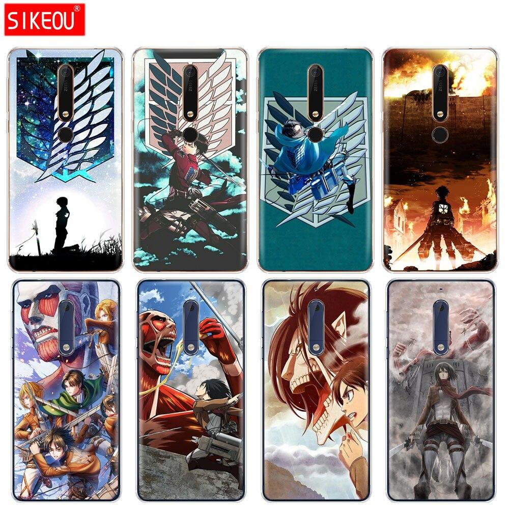 silicone cover phone case for Nokia 5 3 6 7 PLUS 8 9 /Nokia 6.1 6 2018 Anime Japanese attack on Titan