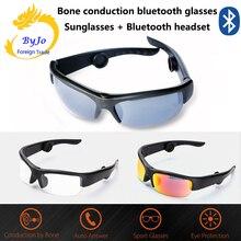 أحدث 6B سماعة رأس بخاصية البلوتوث النظارات الشمسية الموسيقى ميكروفون العظام التوصيل نظارات سماعة مع 3 عدسات ملونة مختلفة هدية