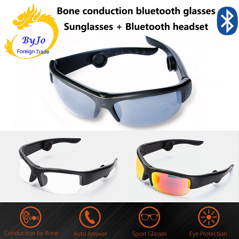 Newest 5B Bluetooth headset sunglasses music microphone bone conduction Open type headset With 3 different color lenses GIFT stylish two color match lenses hipsters sunglasses for unisex aviator