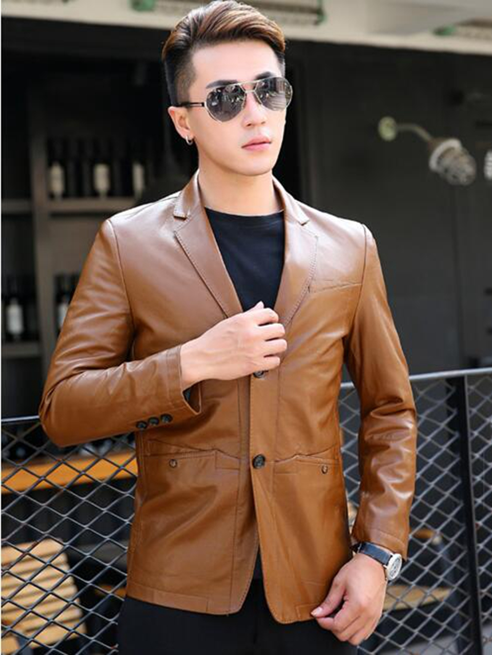 Han edition cultivate ones morality man winter in Europe and the new business fine thin youth small leather blazer 275 / M-3XL