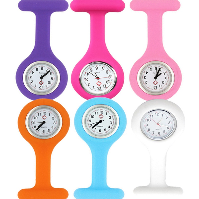 Hot Sales Fashion Cuty New Silicone Nurse Watch Brooch Tunic Fob Watch With Free Battery Doctor Medical Drop
