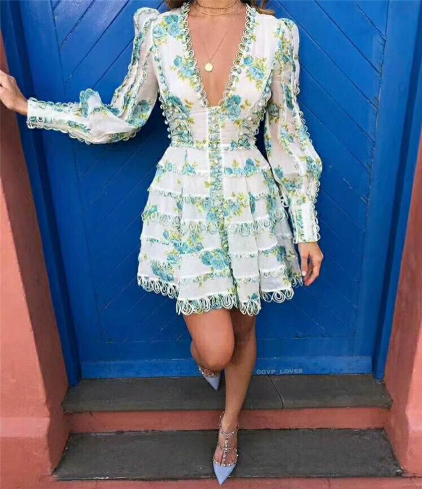2018 Summer Autumn New Sexy Women Dress High Quality Puff Sleeve Deep V Floral Printed Dress Wavy Bottom Palace Style Dresses