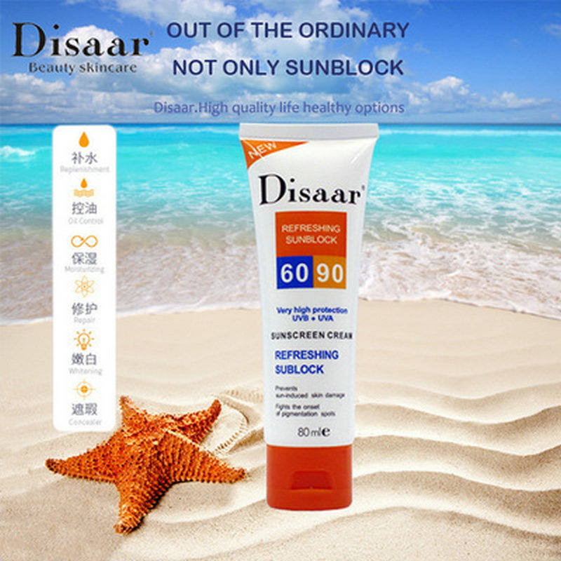80g Disaar Facial Body Sunscreen Cream Sunblock SPF 90 PA++ UV Protective Base Cream Anti-Aging Oil-control Moisturizing Cream