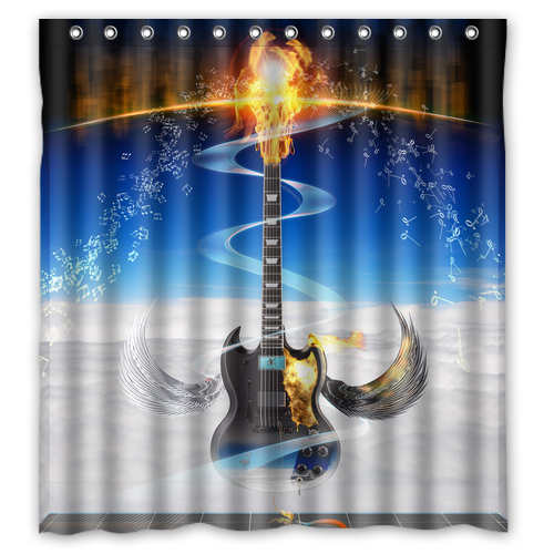 Supernatural Music Note Guitar On Fire Custom Waterproof Shower Curtain Bathroom Products Curtains 48x72 60x72 66x 72 Inches