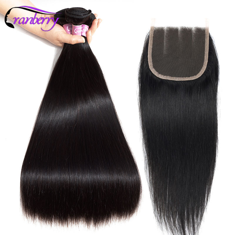 CRANBERRY Remy Hair 4 4 Swiss Lace Closure With 3 Bundles Hair Bundles With Closure Peruvian