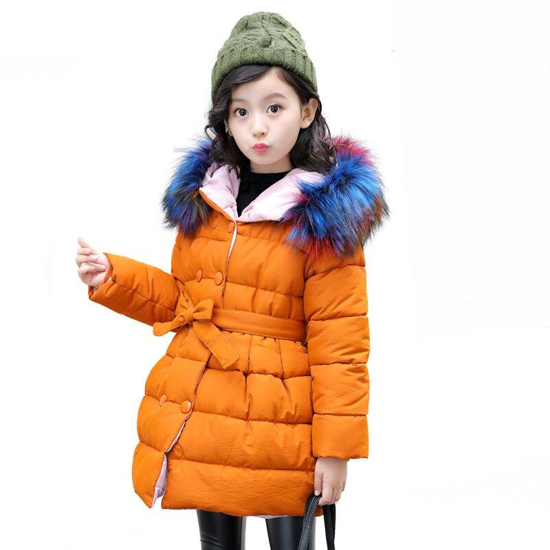 Обувь для девочек зимнее теплое пальто Детская Рождество школа красочные верхняя одежда с меховым воротником для холодной зимы зимние курт...