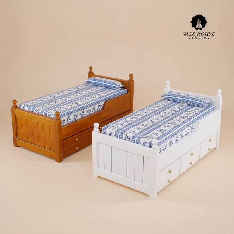 Dolls working trundle bed  for doll house miniature wooden mini furniture bed Guest Bed