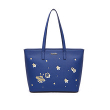 Casual Totes Leather Bag Embroidery Large Women Leather Handbags UFO Blue Famous Brand Big Ladies Shoulder Bag Bolsos Mujer
