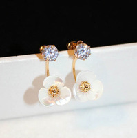 New Korean Real Gold Plated Stainless Steel Flower Clover Love Crystal Stud Earrings Pequenos Heart Jewelry