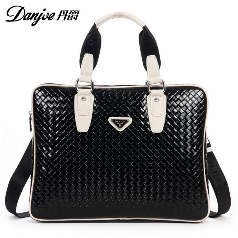 DANJUE Braided lines Style For iPad/Macbook Fashion Shoulder Bags High Quality Genuine Leather Men and women Notebook Bag Black
