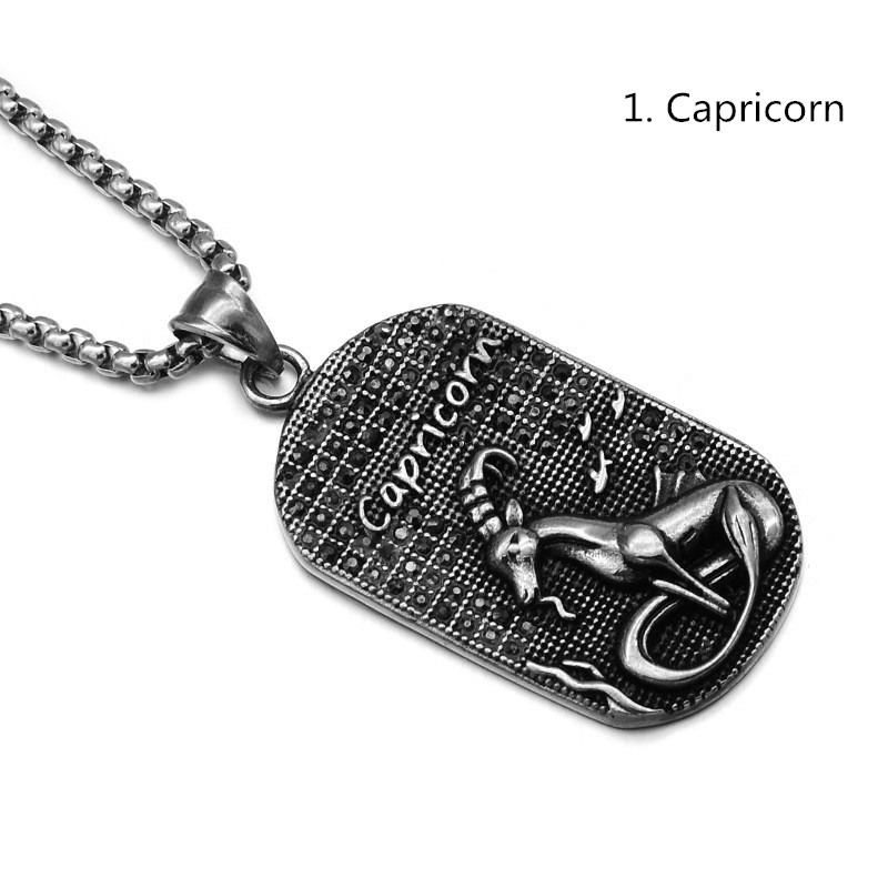 MCSAYS Hip Hop Stainless Steel Jewelry 12 Constellations Square Card Pendant 60cm Box Chain The Signs of the Zodiac Necklace 3MJ