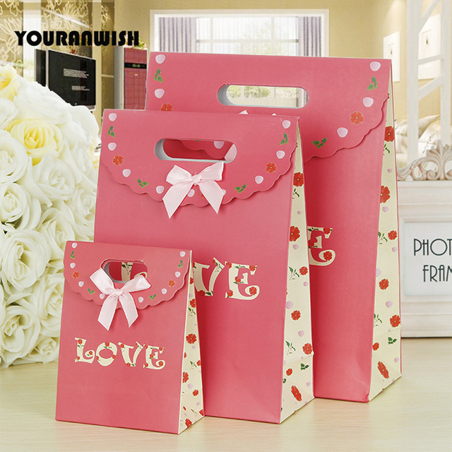10pcslot Pink Paper Gift Bags Wedding Candy Packaging Recyclable