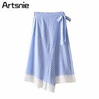 Artsnie azul rayado casual asimétrico verano Maxi Falda larga mujeres de alta cintura sexy Partido de encaje Cruz split Faldas Mujer 2018