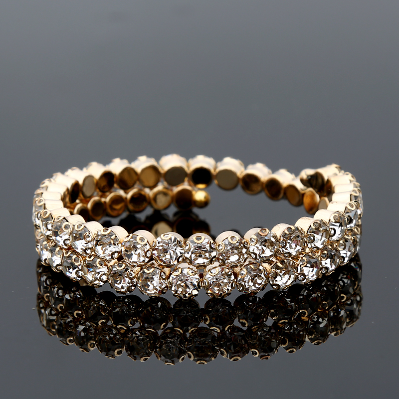 Guvivi Crystal Rhinestone Bracelet Bangles for Women Adjustable Wide Cuff Bangles Wedding Jewelry Gifts 2019 Wholesale