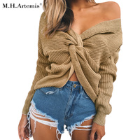M H Artemis V Neck Sweater Women Loose Cross Back Autumn Winter Sexy Pullover Off Shoulder