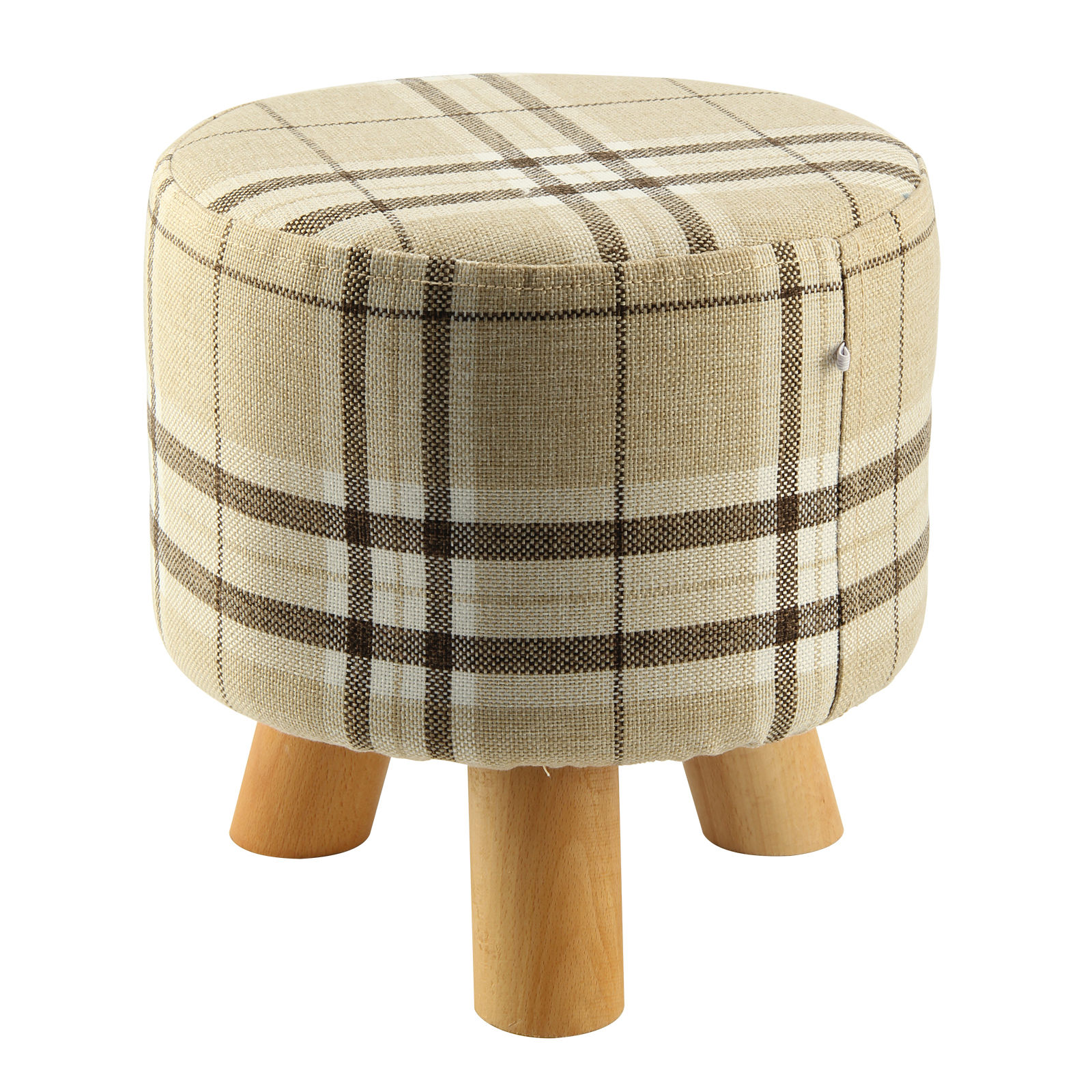 Modern Luxury Upholstered Footstool Round Pouffe Stool + Wooden Leg Pattern:Round Fabric:Big Checkered(3 Legs) checkered pattern embellished color splice knitted leg warmers