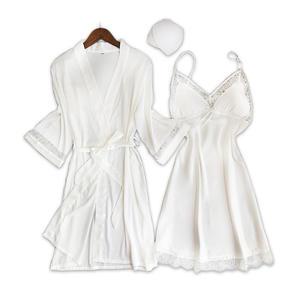 ab8d06e4fe mialucce Sexy satins women silk robes 2-piece sleep