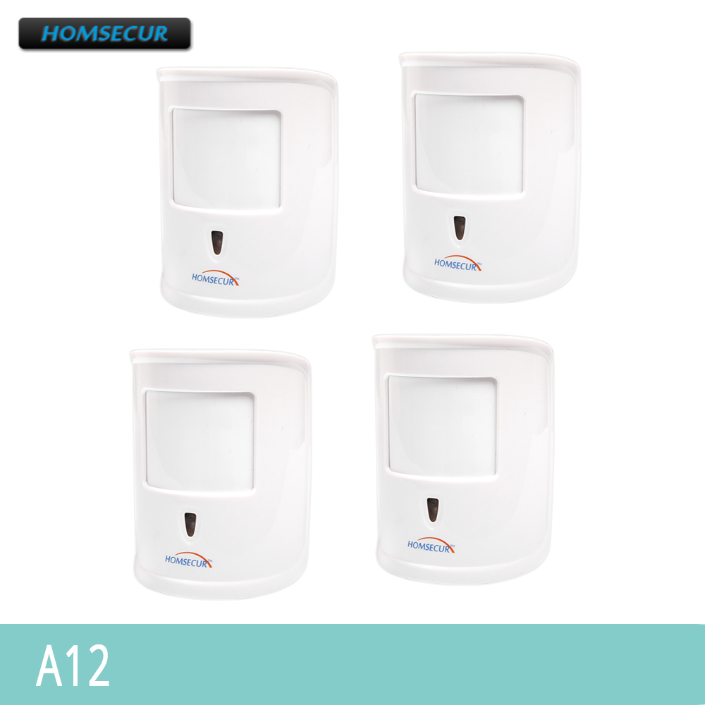 HOMSECUR Wireless 433MHz 4Pcs A12 Pet Immune Friendly PIR Sensor For Our Alarm System