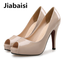 Jiabaisi shoes Women pumps Peep toe Platform Womens Spike Heel Shoes Patent PU leather Large size Simple Party dress Heel pumps