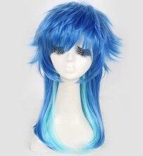 Asesinato de drama peluca azul larga peluca azul cosplay peluca del anime de la peluca del partido de cosplay accesorios de halloween head wear