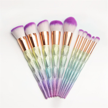 Professional 10pcs Makeup Brushes Set Thread Rainbow Diamond Handle Shape Unicorn Horn Face Make up Brush Beauty Kit