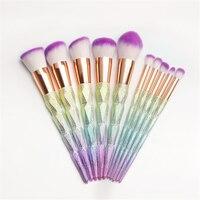 Professional 10pcs Makeup Brushes Set Thread Rainbow Diamond Handle Shape Unicorn Horn Face Make Up Brush