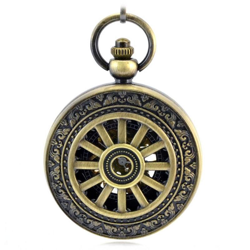 Roda de Bronze do Estilo Automático do Relógio dos Homens do Relógio de Bolso do Vintage Relógio de Vento Romano Retro Esqueleto Mecânico Relógio Colar Mão Oco