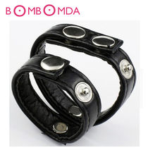 Adjustable Dual Cock Ring Sex Toys For Men Leather Cockrings Penis Rings Male Chastity Device Adult Games Sex Products