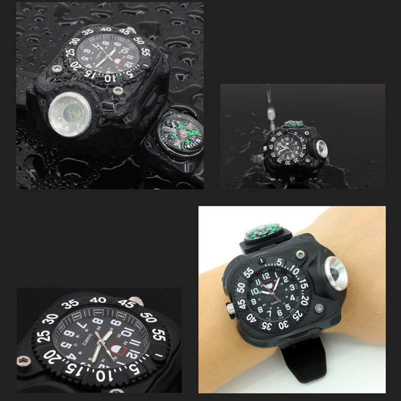 3in1 Super Bright Led Watch Flashlight Torch lights Compass Outdoor Sports Mens Fashion Waterproof Rechargeable Wrist Watch Lamp in LED Flashlights from Lights Lighting