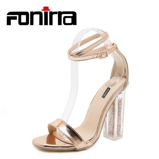 b3030060e9500 FONIRRA Summer Ankle Strap Chunky Heels Sandals Women Golden Bling Clear  Heels Sandals Sexy High Heel Sandals 947