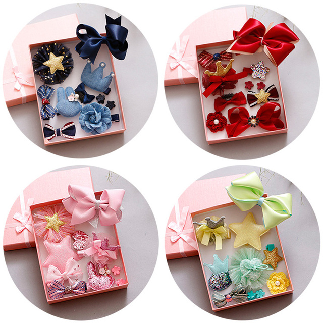 Kids Hair Clips Barrettes Accessories Boutique Bows Hair Jewelry Set