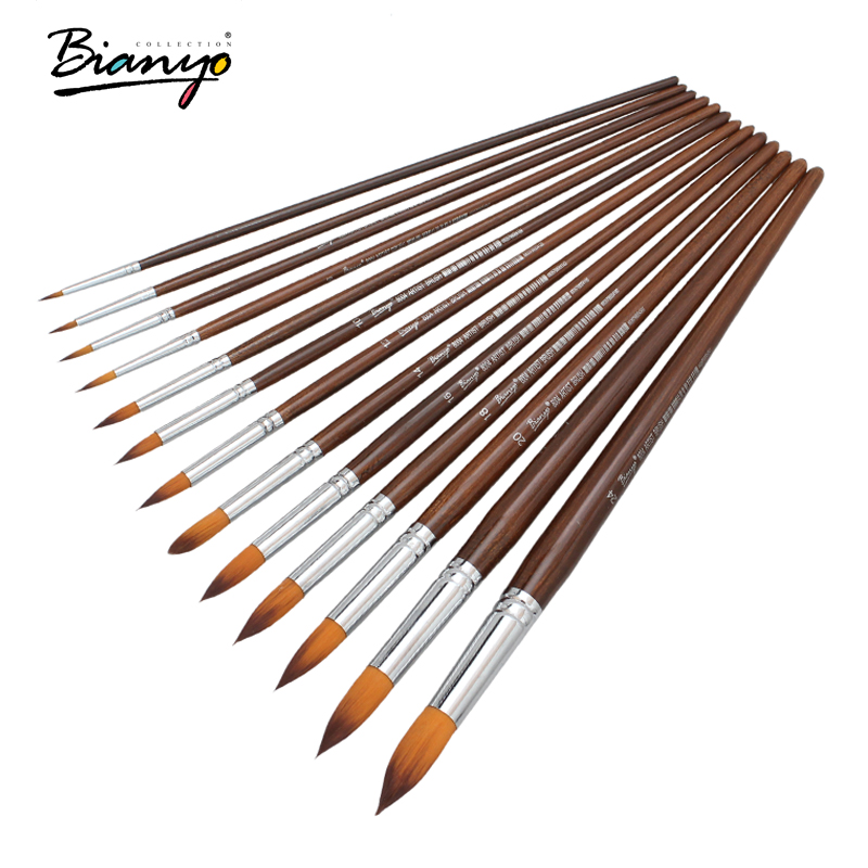 Bianyo 13 Pcs Long Handle Round Shape Artist Acrylic Painting Brushes Set For School Watercolor Oil Painting Stationery Supplies