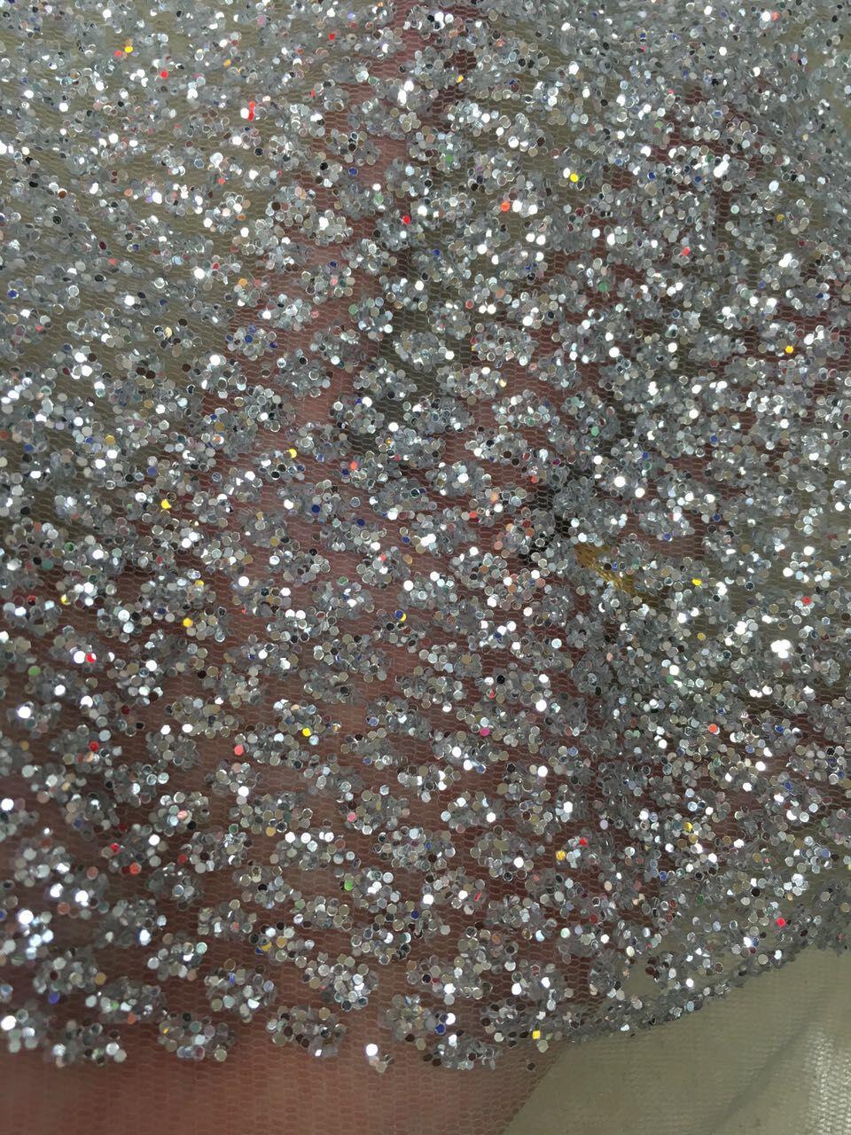 (5 yardas/pc) hermosa tela de encaje de red francesa Africana Z han5416 con purpurina pegada-in encaje from Hogar y Mascotas    2