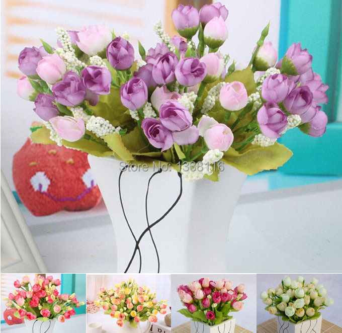 4pcs/lot Artificial Mini Spring Rose Flowers Dinner Table Decorative Silk Flowers Wedding Bouquets Home Decoration(no vase)