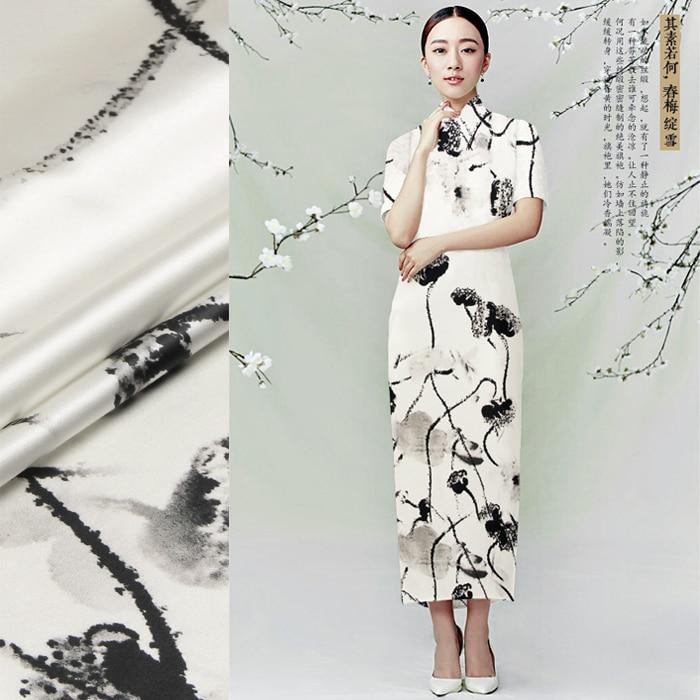 2bf1e98b672 118cm 다양한 93% 7% 실크& 스판덱스 19mm 연꽃 잉크 인쇄 흰색 실크 새틴 패브릭 드레스 셔츠 옷