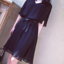 Women V Neck Knee-Length Loose Black Dress Chiffon Slim Summ