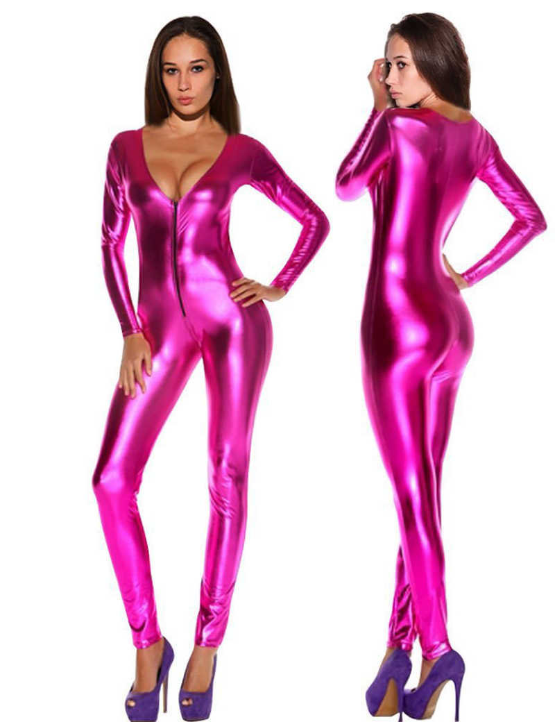 fba523858408 Women Jumpsuits Romper Sexy Solid Latex Catsuits Black Silver Gold Blue Rose