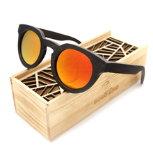 BOBO BIRD New Luxury Black Wood Round Sunglasses Polarized Sun Glasses for Men and Women with Mirror Lens 2017 Steampunk BG012eC