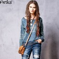 Artka Women's 2016 Spring New All-match Loose Style Embroidery Denim Hoodies Casual O-neck Long Sleeve Comfy Hoodies S810061C