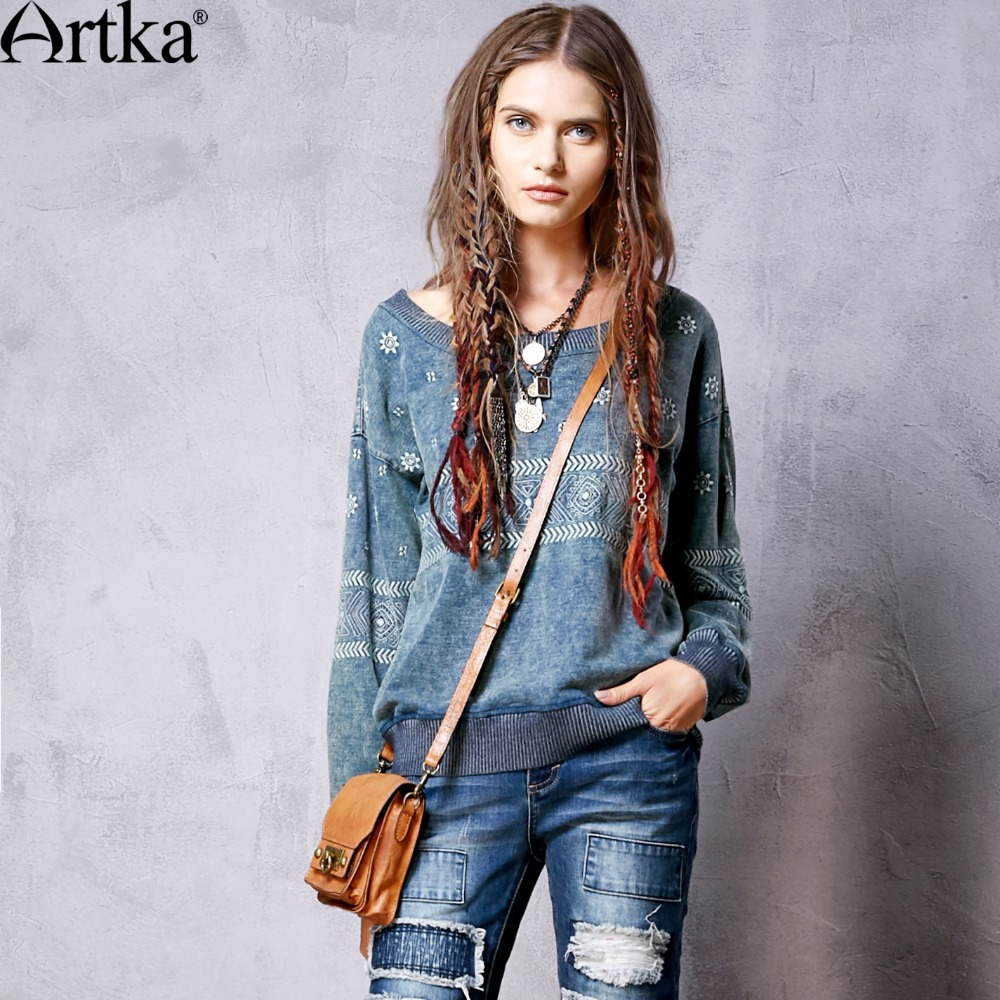 Artka Women's 2016 Spring New All-match Loose Style Embroidery Denim Hoodies <font><b>Casual</b></font> O-neck Long Sleeve <font><b>Comfy</b></font> Hoodies S810061C