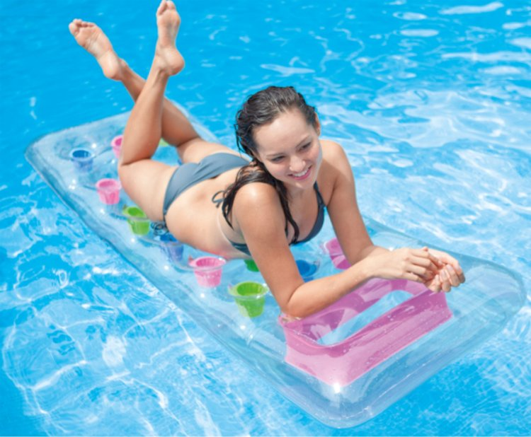Inflatable Floating Row 18 Holes With Pillow Lounger