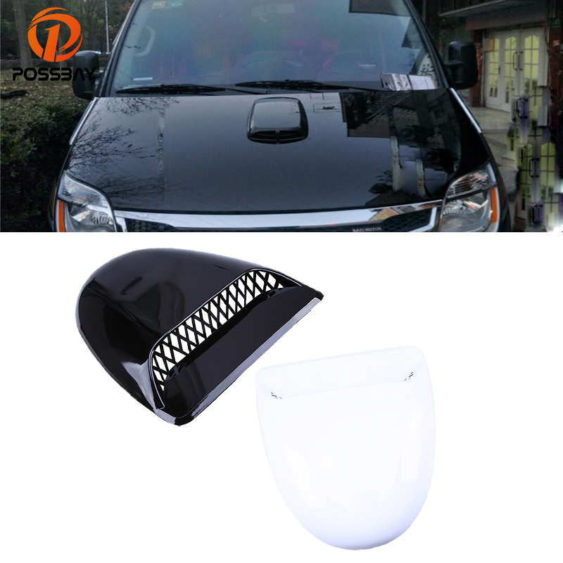 POSSBAY Front Hood Cover Air Intake Flow Vent Sticker Black/White Intake Dust Grille Decoration Side Grille Vent Decoration