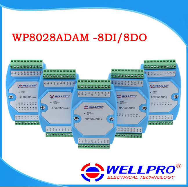 Digital input output module isolated 8DI 8DO MODBUS communication WP8028ADAM