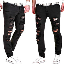 mens biker jeans nmd adey men Polyester  Cotton without belt  Middle Waist Men Casual Pants frayed jeans homme