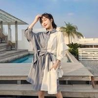 Корейский дизайн топ продаж кнопки вниз Модная рубашка платье модные стильные уличная печати лоскутное платье-рубашка в шотландскую клетк...