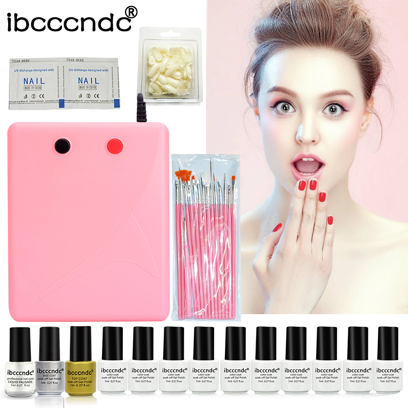 New Ibcccndc 10 Colors 7ml UV Nail Gel + 36W UV Lamp Top Base Coat Polish Varnishes with Remover Nail Art Set Manicure Tools Kit nail gel polish tools pro 36w uv lamp 4 colors gel varnishes base and top coat nail art kits manicure set with polish remover
