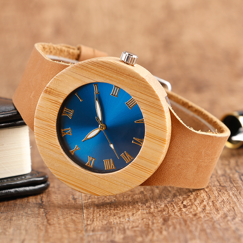 Creative Women Wooden Watch Blue/Green Face Bamboo Minimalist Roman Number Quartz Genuine Leather Band Dress relogio feminino green dial creative wooden watch 2017 relojes hombre leather band bamboo minimalist mens nature wood relogio masculino