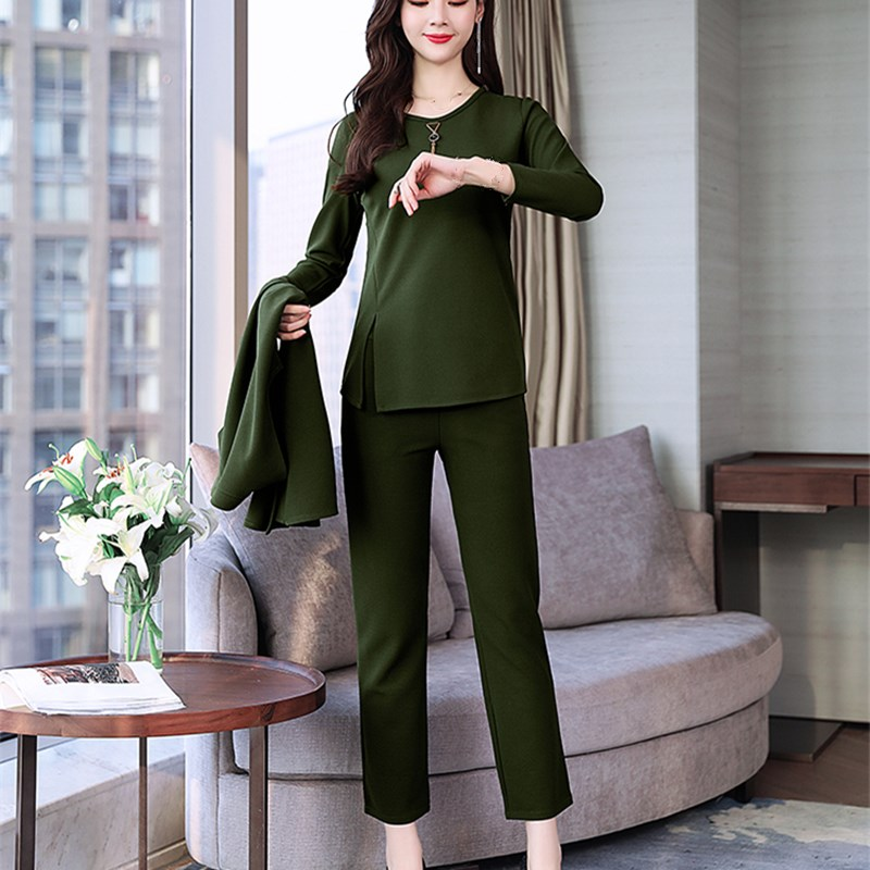 3 Pieces Set Women Tracksuit Cardigan and Long Sleeve Tops and Wide Leg Pants Suit Women's Sets