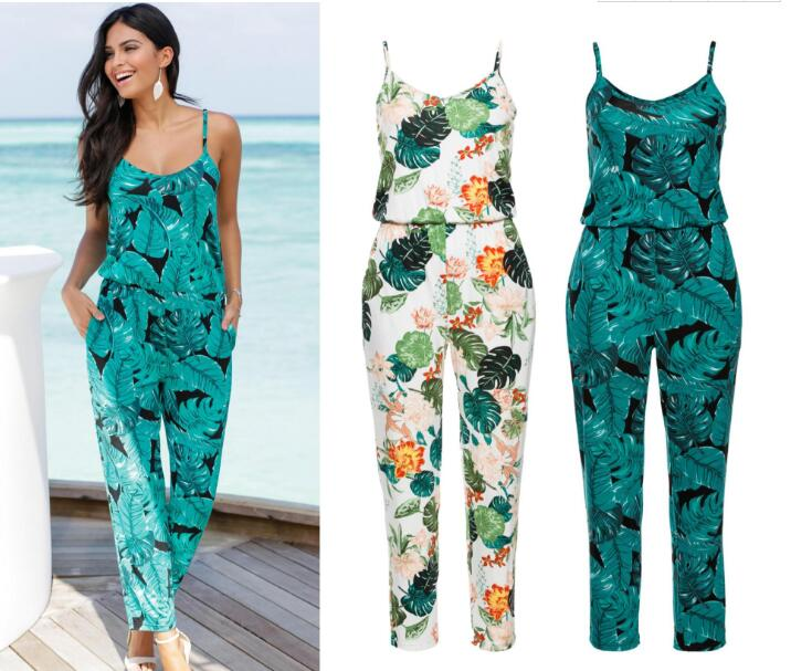 new Casual New Style 2019 Floral Printed Romper Playsuit   jumpsuit   women long pants Beach Casual Siamese Trousers women clothes