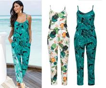 new Casual New Style 2019 Floral Printed Romper Playsuit jumpsuit women long pants Beach Siamese Trousers clothes